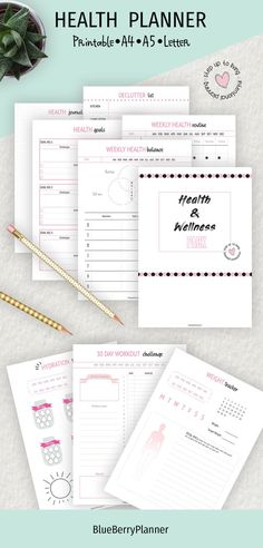 Health-care tracker printable! Health Planner, Fitness Planner, Life Planner, Life Binder, Health Routine, Workout Log, 30 Day Workout Challenge, Health Goals, Food Diary
