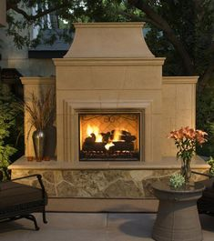 An easy way to upgrade your outdoor living space, simply add the majestic American Fyre Designs Grand Cordova Outdoor Fireplace . Prefab Fireplace, Outdoor Gas Fireplace, Outdoor Fireplace Designs, Backyard Fireplace, Custom Fireplace, Fireplace Ideas, Fireplace Art, Fireplace Pictures, Fireplace Seating