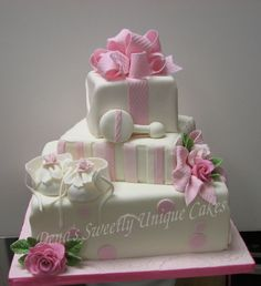 Pink and white baby girl presents