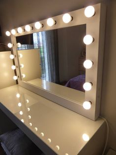 SUPER SALE-XL Hollywood vanity mirror- makeup mirror with lights- Perfect for Ikea Malm vanity -Bulbs not included Hollywood Lighted Vanity Mirror, Hollywood Lights, Lighted Mirror, Led Mirror, Ikea Malm, Vanity Room, Vanity Set, Vanity Mirrors, Vanity For Sale