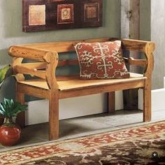 Dining room bench with back and arms - make with straight arms instead of curved...