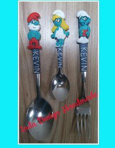 Smurfs cutlery for children - polymer clay. Facebook: Evőeszközök Egyedi Inda