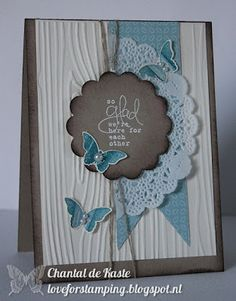 Fabulous card using Blooming Marvelous (SAB), Twitterpated dsp, Tea Lace Paper Doily, and Bitty Butterfly punch.