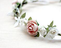Bridal Flower Headband Pearl Bohemian Halo by brendasbridalveils