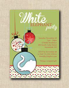 White Elephant Custom Digital Invitation by StudioGStationery, $15.00
