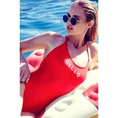 c7377687e29 Hello Good Bye Red One Piece Swimsuit