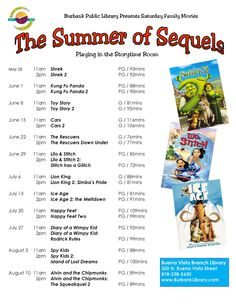 Saturday (5/25) kicks off our Summer of Sequels Film Festival at Buena Vista Library! Every Saturday at 11am, all summer long, enjoy family favorites & their sequels in our Storytime Room, an air-conditioned oasis!