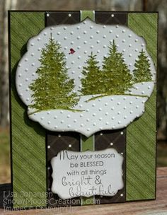 Love the Swiss dot embossing with the trees! Not so crazy about the black ribbon. Simple Christmas Cards, Christmas Card Crafts, Merry Christmas Card, Christmas Greeting Cards, Greeting Cards Handmade, Handmade Christmas, Holiday Cards, Christmas Trees, Winter Cards
