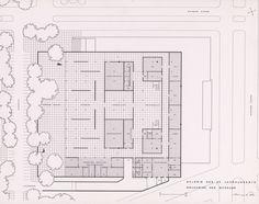 Ludwig Mies van der Rohe: Präsentationsmappe für den Bau der Neuen Nationalgalerie, Grundriss des Museums. (c) bpk / Kunstbibliothek, SMB / Dietmar Katz