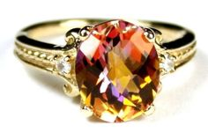 R136, Twilight Fire Topaz, 10KY Gold Ring #Handmade #SolitairewithAccents
