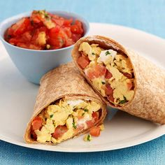 Craving some Mexican? This egg wrap will satisfy your early-morning munchies. Scramble one egg and one egg white in 2 teaspoons olive oil. Add 1 cup baby spinach and sauté until just wilted. Put egg-spinach mixture on a 10-inch whole wheat tortilla, along with 1/4 cup reduced fat shredded Mexican blend cheese and 1/4 cup salsa. Roll up and enjoy.                 NUTRIENT TOTALS                 Calories: 453.4 Protein: 26.2 g Carbohydrate: 44 g Dietary Fiber: 6.86 g Total Sugars: .941 ...