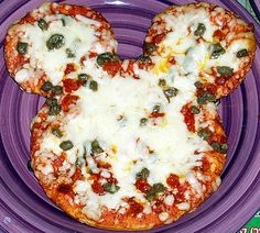 Mickey Mouse Pizza be sure to veganize with non diary cheese and vegan pepperoni if used.