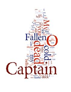 "FREE download: ""O Captain, My Captain"" Whitman poem & activities w/word cloud art print"