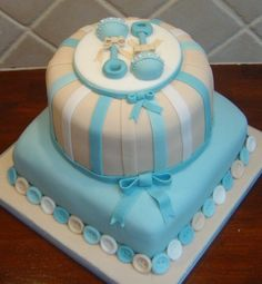 Cute baby shower cake for a boy