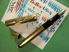 vtg Gold Filled Button Filler Fountain Pen 14K Nib semi Flex New SAC vtg NO NAME