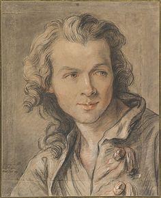 Retrato de Étienne Maurice Falconet (1741) por Jean-Baptiste Lemoyne, o Jovem (1704 - 1778). Desenho a giz - Museu Metropolitano de Arte