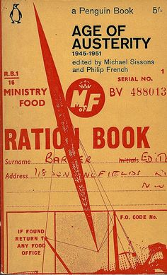 You know I love me some industrial! Penguin book cover: AGE OF AUSTERITY. Love the ration book. #coolcovers #books #art