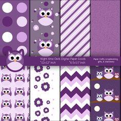 Night time Purple Owls Digital Paper Goods by artistaq8.deviantart.com on @deviantART