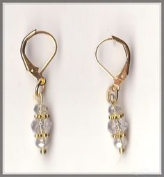 Crystal Clear Bead Gold Plated Hinged Earrings  by MadAboutIncense - $10.50