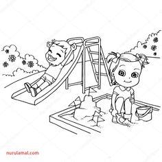 Page de coloriage avec enfants jouant et garçons