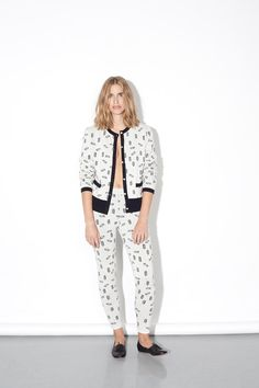 ICE Cardigan  white and black abstract jacquard