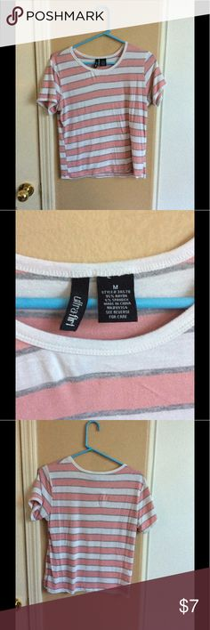 Pink and Grey striped cropped shirt Cropped shirt with pink grey and white stripes. Ultra Flirt Tops Crop Tops