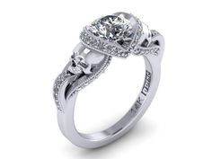 Secret Skull Engagement Ring- 14K Solid White Gold with 1 ct Mossiante Ctr with white side dia- UDINC0427