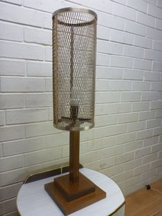 RETRO INDUSTRIAL MID-CENTURY EAMES ERA TEAK ANODISED CAGED DESK LAMP