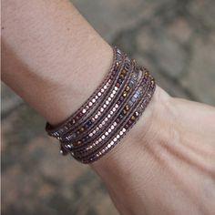 Tiny Brown mix wrap bracelet, Boho bracelet, Bohemian bracelet, Beadwork bracelet