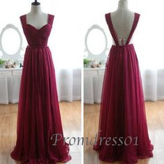 Cute wine red classical chiffon sweetheart straps open back prom dress for teens, evening dress, ball gown, prom gown #promdress #wedding