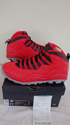 premium selection 1ac26 cdc8e (705178-601) Nike Air Jordan X 10 Retro 30th Bulls Over Broadway Sz