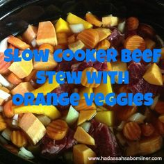 Slow Cooker Beef Stew with Orange Veggies using KOL Foods Stew Meat.  www.kolfoods.com