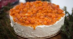 Cheesecake with Sour Cream, Cloudberries and Spruce Sprigs. #dessert