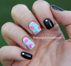 the nail polish challenge: Neon Roses and Studs.. and Some Different Photos