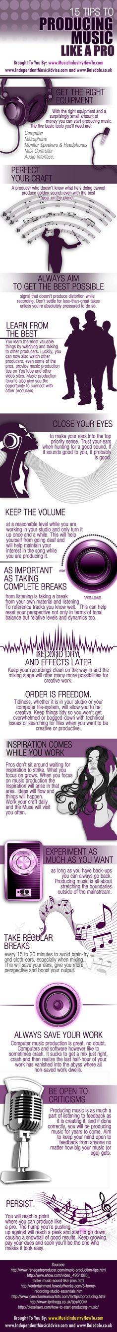 15 Tips For Becoming A Better Music Producer. Infographic, another bonus 5 tips also on the page.