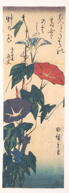 歌川広重画|Morning Glories with Poem by Gyōkō by Utagawa Hiroshig