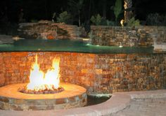 backyard ideas with fire pits and pools | ... Pool with Outdoor Fire Pit provided by Frank Bowman Designs, Inc
