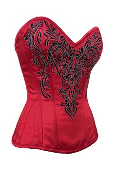 Maroon Satin Classic Embroidered Overbust Corset. Showstopper!