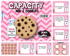 CAPACITY Milk & Cookies Smart Board Game - This game (in SMART BOARD and PROMETHEAN format) is aligned with common core standards 4.MD.A.1 and 4.MD.A.2 and provides self-checking practice for unit facts and conversions with cups, pints, quarts, and gallons. Word problems are included. $