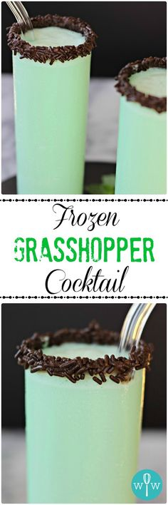 Frozen Grasshopper Cocktail – A rich, chocolaty, minty, smooth frozen cocktail recipe that's more like a decadent dessert than a drink. Indulge!   www.worthwhisking.com