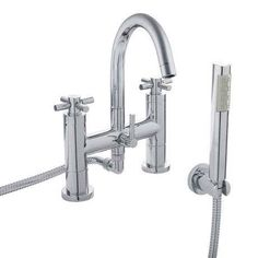 Modern Round Styling Gold Plating Deck Mounted Bath Shower Mixer The Hudson Reed Tec Crosshead range offers classic symmety and styling Bath Shower Mixer Taps, Bath Taps, Bathroom Taps, Modern Bathroom, Bathroom Ideas, Bathrooms, Gold Shower, Hudson Reed, Shower Kits