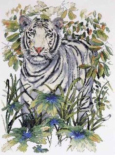 Design Works Counted #crossstitch  WHITE TIGER #DIY #decor #crafts #needlework #crossstitching