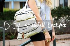 Studded backpack - combine w/ lace backpack Lace Backpack, Studded Backpack, Diy Backpack, Fashion Backpack, Studded Denim Jacket, Studded Dress, New Trendy Dresses, Studded Sneakers, Cool Backpacks