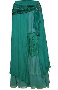 Pretty Angel Clothing Teal Vintage Romance Peasant Skirt Layered s M L XL | eBay