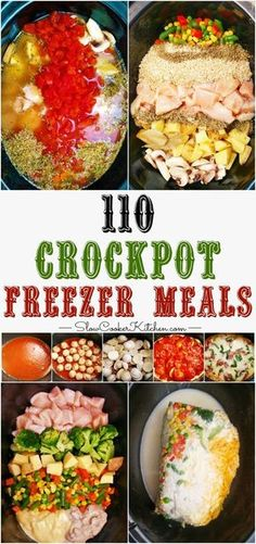 Healthy Meals Slow Cooker Freezer Meals - If you're looking for an EPIC crockpot freezer meals cooking session. 1 afternoon, 2 people, 8 recipes and you get 110 freezer meals. Slow Cooker Kitchen, Slow Cooker Freezer Meals, Easy Freezer Meals, Make Ahead Meals, Crock Pot Slow Cooker, Crock Pot Cooking, Cooking Recipes, Freezer Cooking, Freezer Recipes