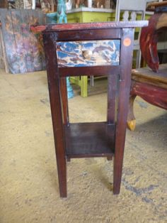Balinese Furniture Hand Made Timber Small Bedside Lamp Side Table Rustic Finish