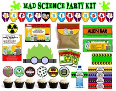 MAD SCIENCE party set  invitation  banner  by funtasticprintables, $14.99