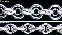 """Japanese Bullseye chain This sample uses 4 ring sizes in sterling silver: large rings are 14g 19/64""""; rings centered in the large rings are 19g 9/64"""", rings connecting large rings are 17g 7/32"""" and rings connecting small center rings are 21g 9/64""""."""