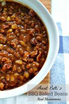 Aunt Patti's BBQ Baked Beans | Real Housemoms | I can't stop at just one serving with these bake beans!!! #recipe