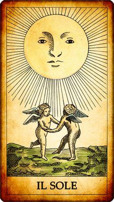"""Carta dei Tarocchi """"XIX. IL SOLE"""" Il sole risplende su due fanciulli. E' significativo che nell'ordine dei tarocchi la carta del sole venga subito dopo quella della luna: ritorna a risplendere il sole dopo un periodo di tenebre. SIGNIFICATO nei Tarocchi: Torna la luce del sole ad illuminarci il cammino e a cancellare le insidie dell'oscurità. Ora la via è più chiara e senza pericoli. Ci aspetta un periodo di... MORE:--> http://www.tarocchigratuiti.it/tarocchi_carte/tarocchi_sole.php"""